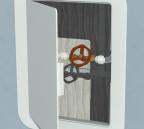 Open plastic access panel revealing stopcock
