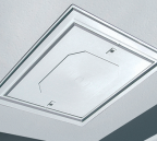White push-up loft hatch installed in a white painted ceiling