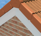 Manthorpe installed left and right handed terracotta dry fix PVCu verge system
