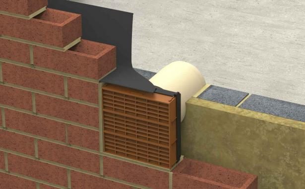 Terracotta Thru..Air triple airbrick with telescopic pipe being built into brickwork