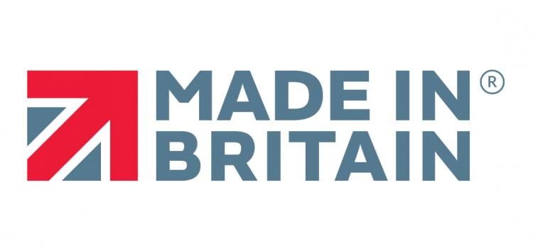 Designed part image of union flag with bold red arrow pointing up and to the right with Made in Britain text to the right hand side