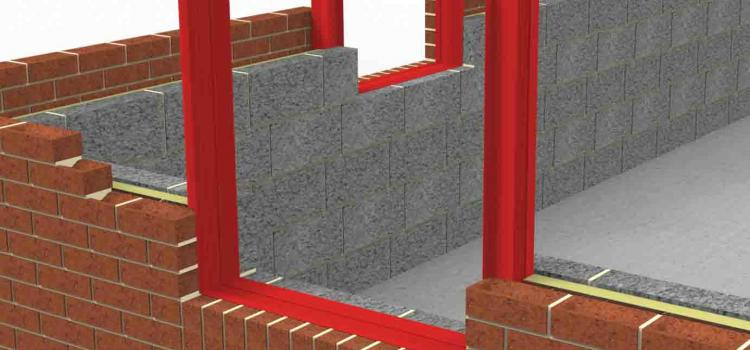 Vertical and horizontal REDSHIELD Cavity Barriers installed around a window opening